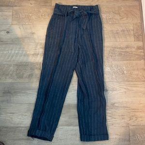 Linen Pinstripe Tie Waist Pants